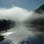 Misty morning on the river Dordogne