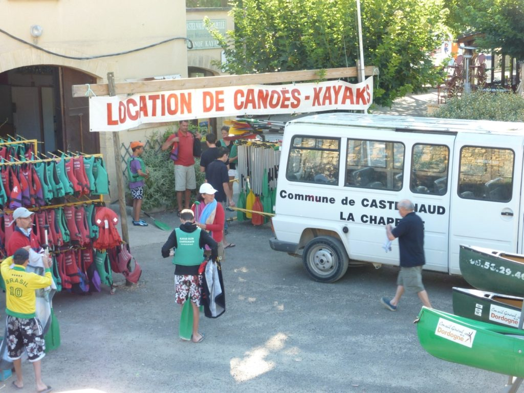 Canoe hire office in the village.